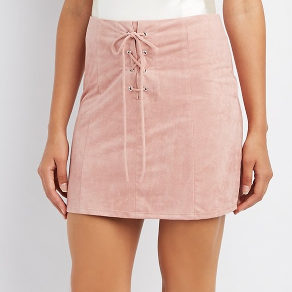 d61118cc0 Charlotte Russe Skirts | Faux Suede Lace Up Skirt Medium | Poshmark